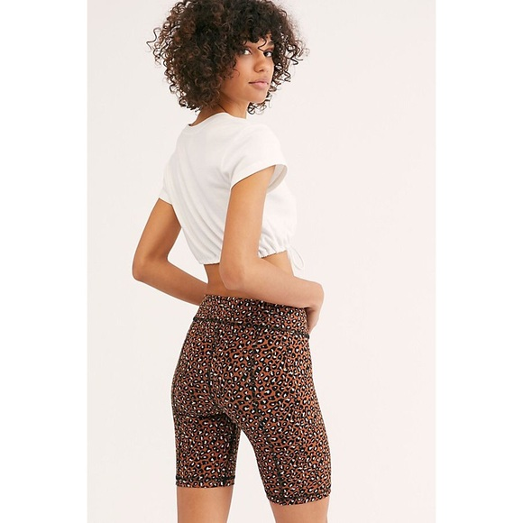 Free People Pants - Free People Lucky Strike Leopard Biker Shorts